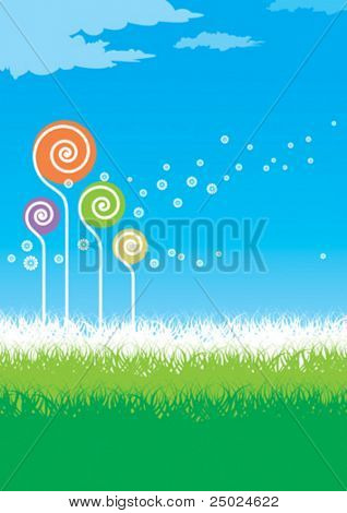 vector illustration of abstract dandelion floral sowing