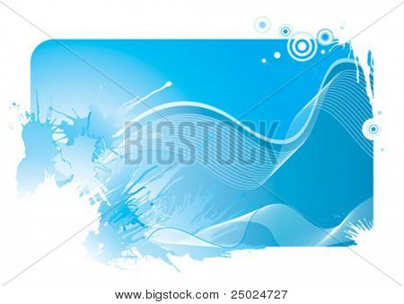Blue color wave and splash background, vector illustration layered file.