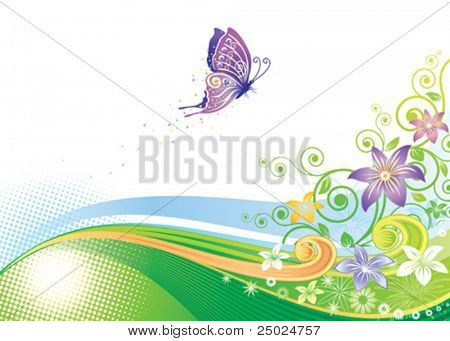 Floral and Butterfly, vector illustration layers file.