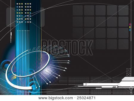 Raster illustration of high-tech infinity background. (for vector format please visit my gallery/portfolio)