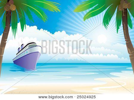 Bon Voyage Vacation vector illustration layers file.