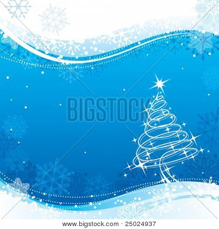 Blue color Christmas background, vector illustration layered.