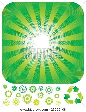 Green resource recycling background, vector layered.