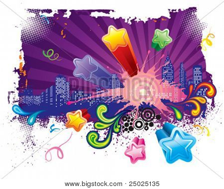 Let's go party, Urban celebration design, vector layered.
