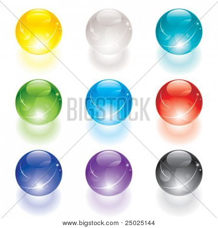 Set of translucent crystal ball, vector layered.