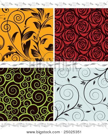 Vector floral seamless wallpaper set. Easy edit colors.