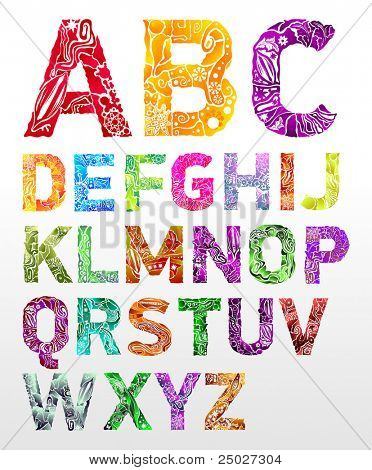 Vector flower font