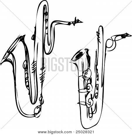 sketch brass musical instrument saxophone bass baritone