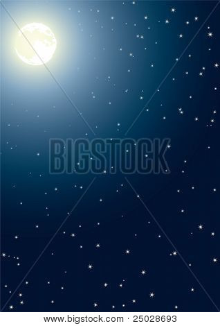 The full moon in the night star sky