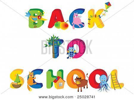 Cartoon-Vektor-Illustration einer Anzeige eines zurück zur Schule