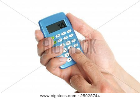 Hand Holding A Calculator