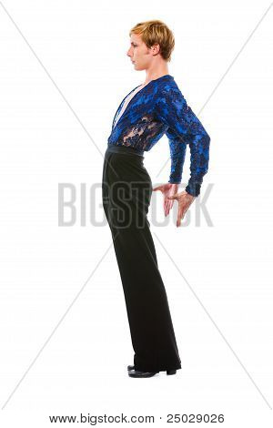 Handsome Latino Dancer Posing On White Background