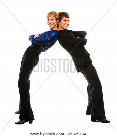 Two Latino Male Dancers Funny Posing On White Background