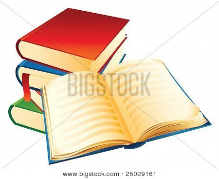 Vector illustration - a pile of old books