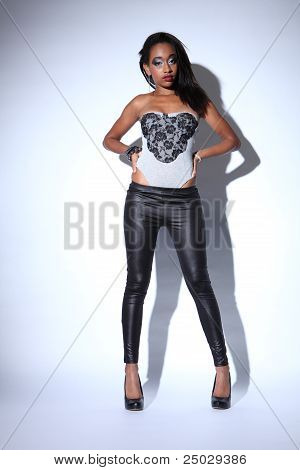 African American Fashion Model In Black Leggings