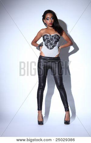 African American Fashion Model In Black Leggings