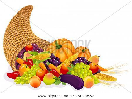 Horn of Plenty with  vegetables and fruits