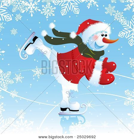 Vector illustration - snowman on a skating rink