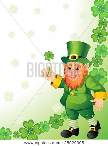 Vector illustration - leprechaun with clover in a hand
