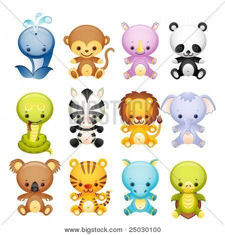 Ilustração em vetor - conjunto de ícones de animais selvagens