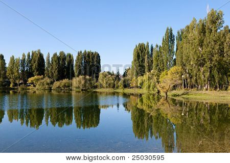 Freshwater lake with reflection of trees and sky