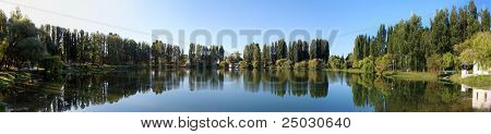Panorama Freshwater lake with reflection of trees and sky
