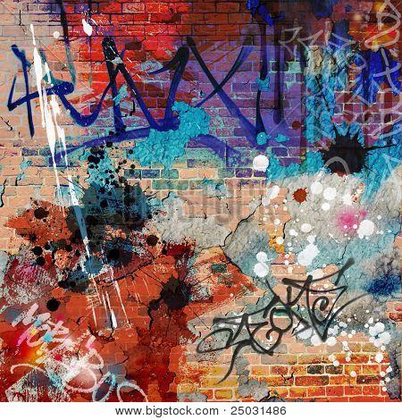Um plano de fundo de parede do Graffiti desarrumado