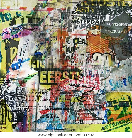 Grunge Background with Old Torn Posters