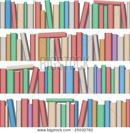 Montón de libros en el estante
