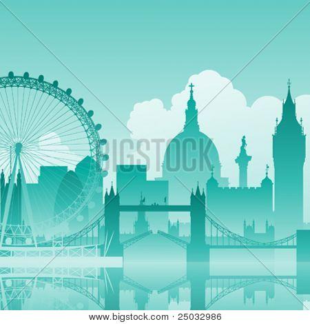 Eine blaue Vektor-Stadtansicht von London