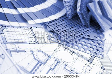palette designs for interior works, samples of plastics, PVC, for furnishing, artificial stone, perforated metal, coated with a polymer and architectural plans for houses