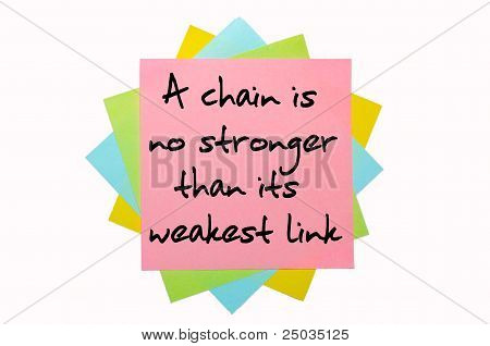 "Proverb ""a Chain Is No Stronger Than Its Weakest Link"" Written On Bunch Of Sticky Notes"
