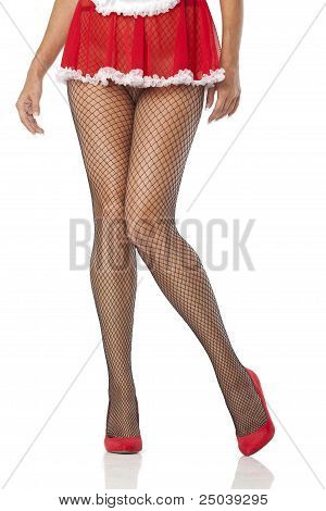 Sexy Maid Legs In Fishnet Stocking