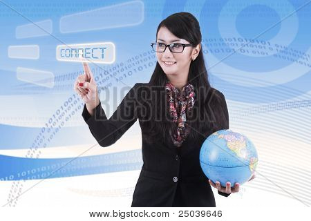 Beautiful Asian Businesswoman Holding Globe