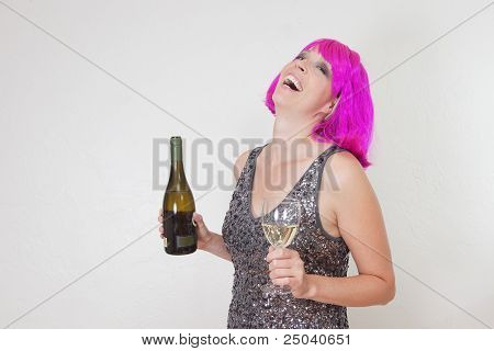Drinking woman with pink wig