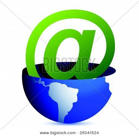 Email address icon inside a globe illustration design
