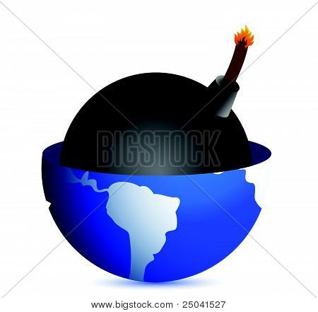 bomb inside a globe illustration design