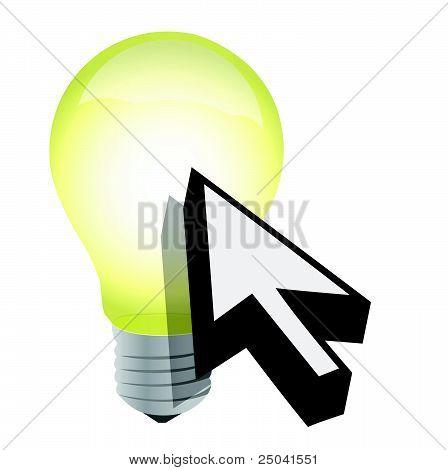 Arrow cursor and light bulb illustration design