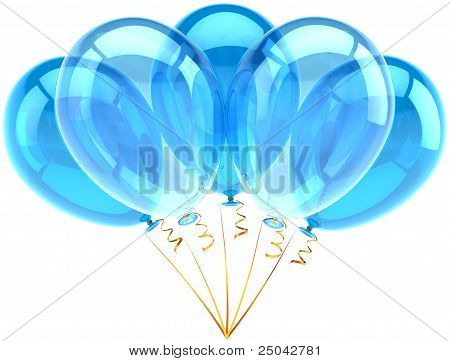 Party balloons five cyan blue translucent