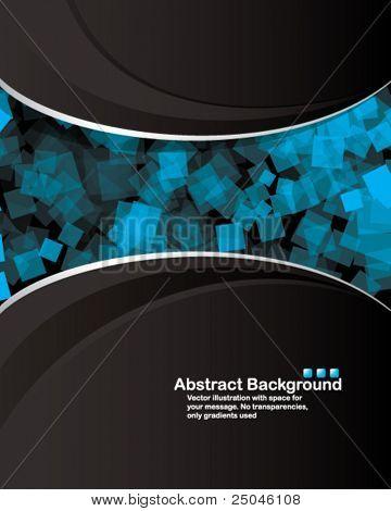 Vector. Diseño limpio con cuadrados transparentes azules al azar. Ningún efecto de transparencia utilizado.