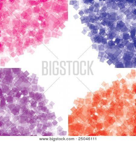 Vector. Cuadrados transparentes al azar situado en colores rosa, azules, púrpuras y rojos.
