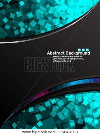 Vector. Black background with transparent random blue squares