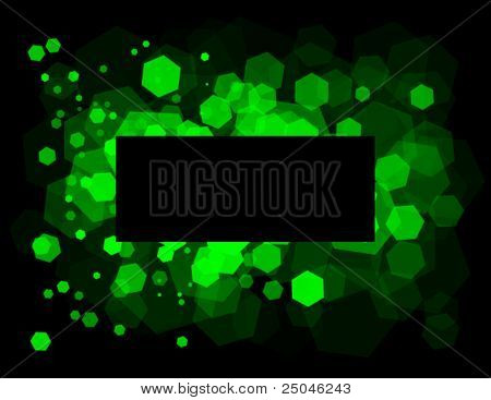 Abstract background with transparent random green cells and space for your message.