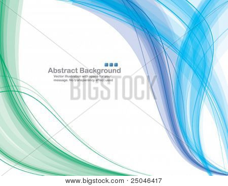 Abstract transparent waves on white background. Vector illustration. No