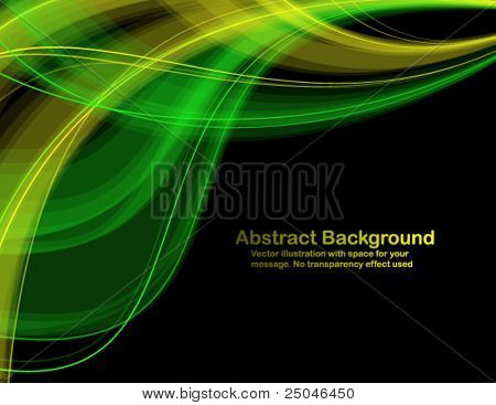 Abstract  transparent waves on black background. Vector illustration in RGB colors.