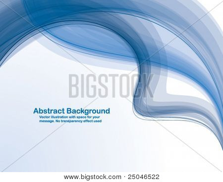 Abstract  blue  transparent waves on white  background. Vector illustration in CMYK colors.