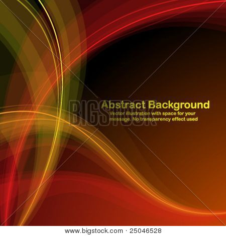 Abstract  red and yellow  transparent waves on dark  background. Vector illustration in RGB colors.