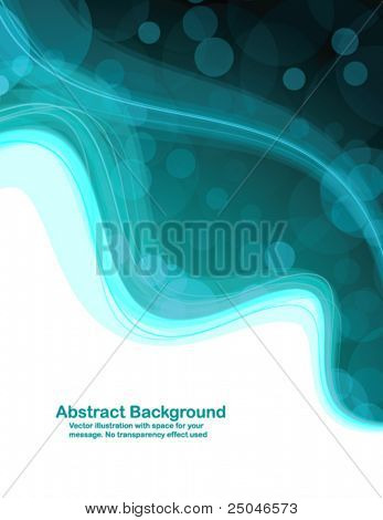 Abstract colorful background with transparent circles and waves. Vector illustration in RGB colors.