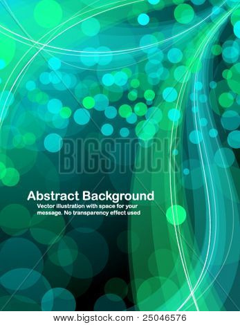 Abstract  blue and green  transparent waves and random circles. Vector illustration.