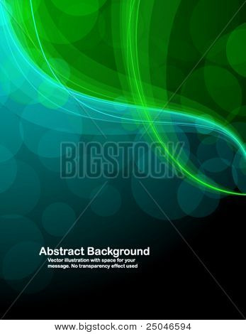 Abstract transparent green and blue waves on black background. Vector illustration in RGB colors